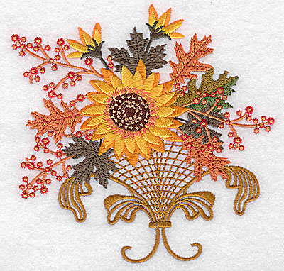 Embroidery Design: Sunflower berries leaves and vase 4.96w X 4.97h
