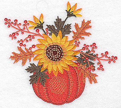 Embroidery Design: Pumpkin with sunflower arrangement 4.94w X 4.53h