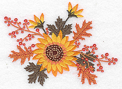 Embroidery Design: Sunflower leaves and berries 4.94w X 3.71h