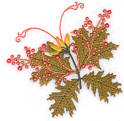Embroidery Design: Berries and leaves 3.70w X 3.72h