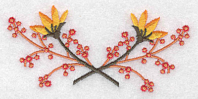 Embroidery Design: Crossed berries and buds 3.87w X 1.77h