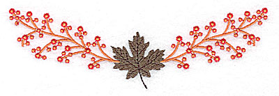 Embroidery Design: Berries with maple leaf 6.41w X 2.03h