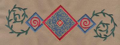 "Embroidery Design: Diamond Trio 3 With Vines7.81"" x 2.61"""