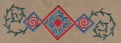 "Embroidery Design: Diamond Trio 2 With Vines7.81"" x 2.59"""