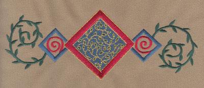 "Embroidery Design: Diamond Trio 1 With Vines8.05"" x 2.92"""