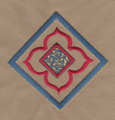 "Embroidery Design: Decorative Flower with Diamond 34.94"" x 4.90"""