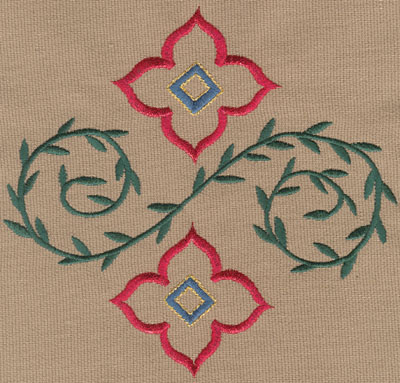 "Embroidery Design: Two Decorative Flowers with Vines (small)5.87"" x 5.61"""