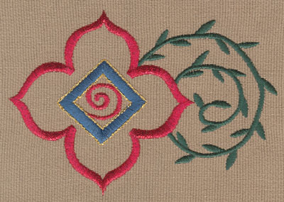"Embroidery Design: Decorative Flower with Vines 34.76"" x 3.32"""