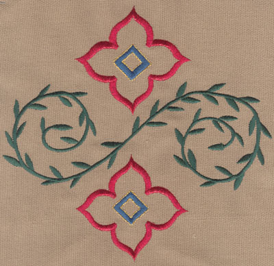 "Embroidery Design: Two Decorative Flowers with Vines (large)7.11"" x 6.76"""