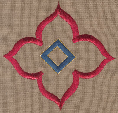 "Embroidery Design: Decorative Flower with Diamond 24.93"" x 4.71"""