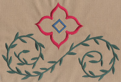 "Embroidery Design: Decorative Flower with Vines 28.81"" x 5.81"""