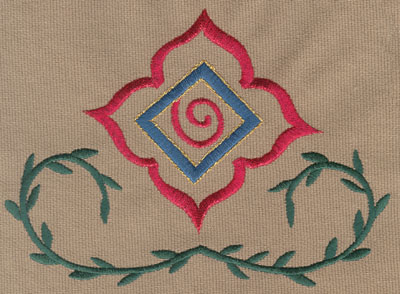 "Embroidery Design: Decorative Flower with Vines 1 (large)5.98"" x 4.40"""