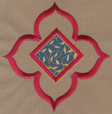 "Embroidery Design: Decorative Flower with Diamond 14.87"" x 5.01"""