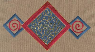 """Embroidery Design: Diamond Trio 16.51"""" x 3.65"""""""
