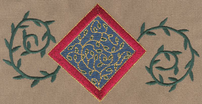 "Embroidery Design: Diamond 1 With Vines6.77"" x 3.36"""