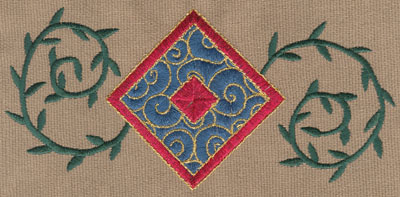 "Embroidery Design: Diamond 2 With Vines6.23"" x 2.98"""