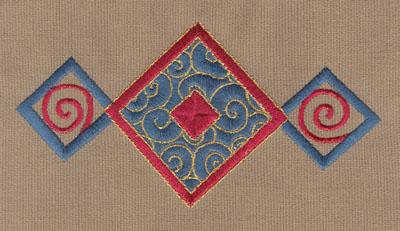 """Embroidery Design: Diamond Trio 25.95"""" x 3.00"""""""