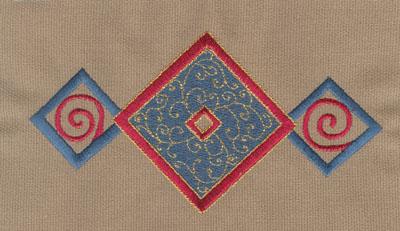 """Embroidery Design: Diamond Trio 36.20"""" x 3.17"""""""