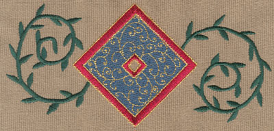 "Embroidery Design: Diamond 3 With Vines6.31"" x 3.00"""