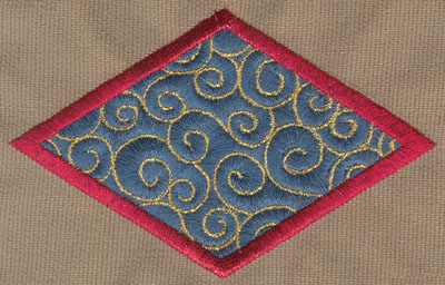 "Embroidery Design: Oblong Diamond4.69"" x 2.99"""