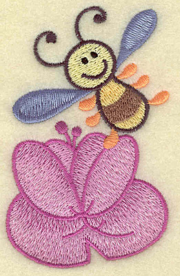 Embroidery Design: Bee with water lily 2.47w X 3.86h