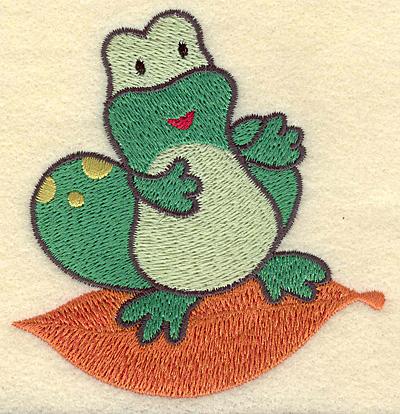 Embroidery Design: Frog on leaf 3.41w X 3.60h