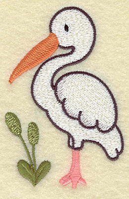 Embroidery Design: Egret and bull rushes 2.52w X 3.82h