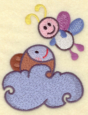 Embroidery Design: Fish in water and bee 3.09w X 3.89h
