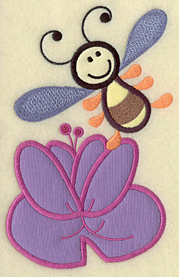 Embroidery Design: Bee with water lily triple applique 6.96w X 4.46h