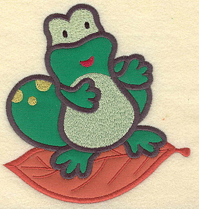 Embroidery Design: Frog on leaf double applique 4.61w X 4.96h