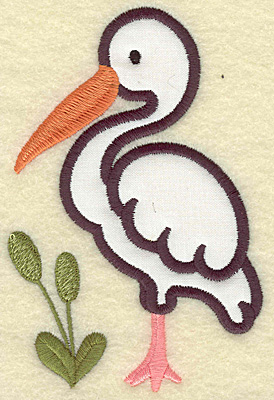 Embroidery Design: Egret applique with bull rushes 3.30w X 4.97h