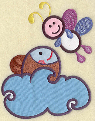 Embroidery Design: Fish in water and bee four appliques 6.25w X 4.98h