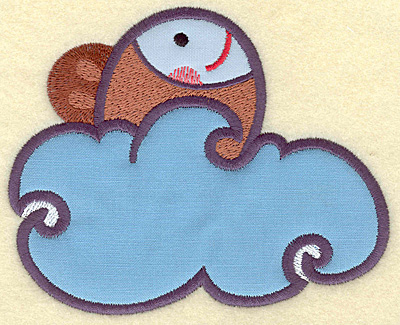 Embroidery Design: Fish in water double applique 4.81w X 3.91h