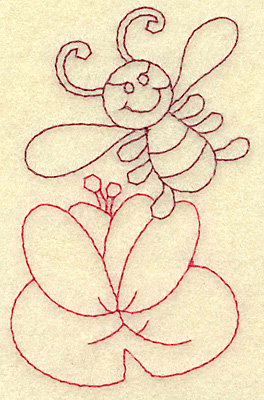 Embroidery Design: Bee and water lily redwork 2.47w X 3.87h