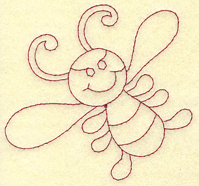 Embroidery Design: Bee redwork 3.87w X 3.61h