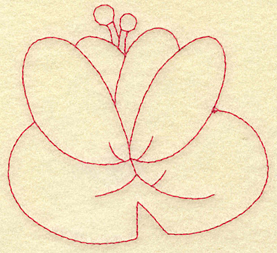 Embroidery Design: Water lily redwork 3.88w X 3.60h