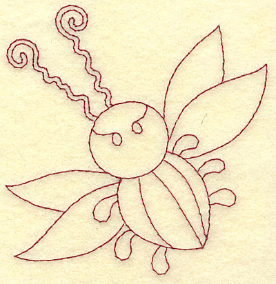 Embroidery Design: Insect redwork 3.75w X 3.89h