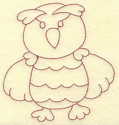 Embroidery Design: Owl redwork 3.58w X 3.85h