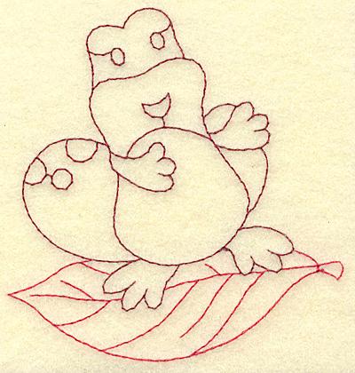 Embroidery Design: Frog on leaf redwork 3.69w X 3.88h