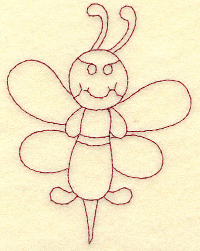 Embroidery Design: Bee redwork 2.97w X 3.88h