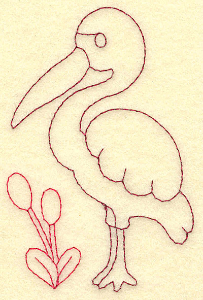 Embroidery Design: Egret and bull rushes redwork 2.55w X 3.88h