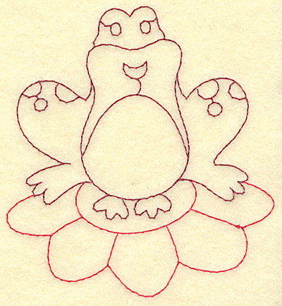 Embroidery Design: Frog on lily pad redwork 3.59w X 3.88h