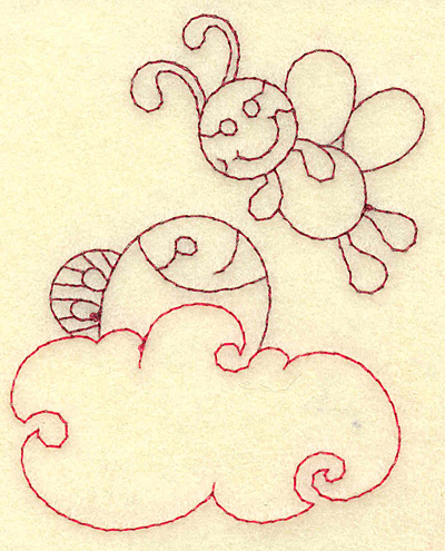 Embroidery Design: Fish in water and bee redwork 3.07w X 3.88h