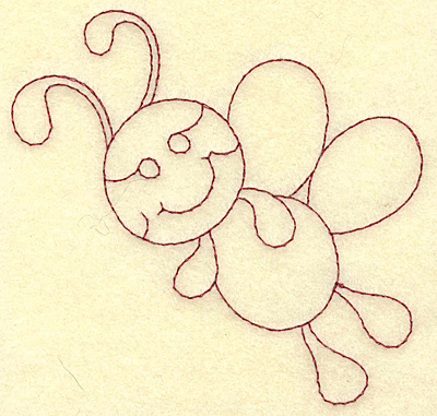 Embroidery Design: Bee redwork 3.88w X 3.68h
