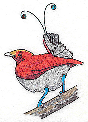 Embroidery Design: Bird J large 3.43w X 4.93h