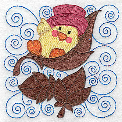 Embroidery Design: Chick resting in leaf large 4.95w X 4.92h
