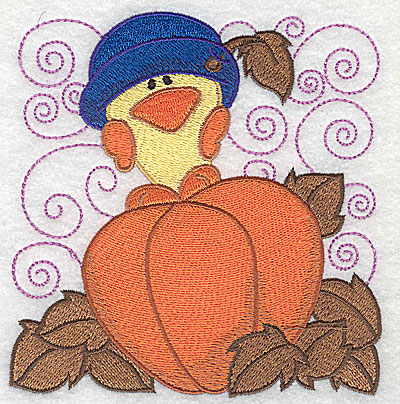 Embroidery Design: Chick standing on pumpkin large 4.77w X 4.92h
