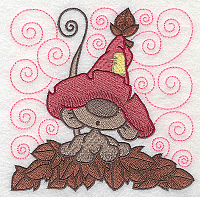 Embroidery Design: Mouse amid leaves large 4.87w X 4.91h