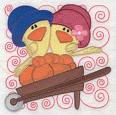 Embroidery Design: Two chicks in a wheelbarrow large 4.93w X 4.93h
