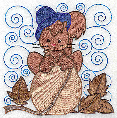 Embroidery Design: Squirrel on nut large 4.96w X 4.95h